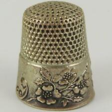"""ANTIQUE KETCHAM & MCDOUGALL WILD ROSES """"GRACE"""" STERLING SILVER SIZE 10 THIMBLE"""