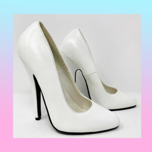 SIZE 2 PLEASER DOMINA 420 WHITE LEATHER POINTED COURT VERY HIGH STILETTO HEELS