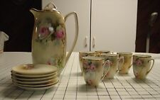 Vintage Bavarian hand painted coffee pot tea pot with lid and 6 matching cups an