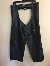 Moto Boss Men's Genuine Leather Motorcycle Chaps Pants Extra Large Black XL