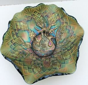 "10"" Green Millersburg Carnival Glass Nesting Swan Ruffled Bowl Diamond Fan Back"