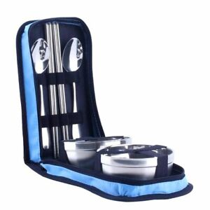 Camping Steel Bowl Chopsticks Spoon Suit Bag Tableware Set Picnic Hiking Hunting