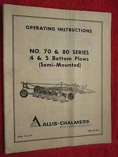Vintage Allis Chalmers 70 Amp 80 Series 4 Amp 5 Bottom Plow Operating Amp Parts Manual