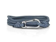 Ocean Zig Zag & Titanium Carabiner Bracelet Climber Gift Titanium Bracelet Blue