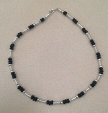 Unisex Coil and  Round Silver-tone Bead & Black Disk Bead 18Inch Choker Necklace