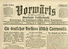 VORWÄRTS (28. August 1917): Ein deutscher Vorstoß östlich Czernowitz