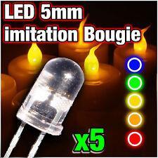 LED 5mm imitation bougie , dispo: rouge, vert, jaune, orange, bleu, 5pcs