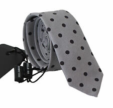 DOLCE & GABBANA Tie Gray Polka Dot Classic Mens Slim Necktie Accessory RRP $250