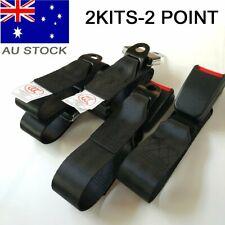 2x AU Car Truck 2 Point Retractable Adjustable Seat Lap Sash Belt Strap Seatbelt