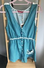 Vintage Dotty Top 12 Gul Surf Quirky 1950s Vest Waistcoat Green And White