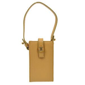 CHANEL CC Logos Button Multi Pouch Hand Bag 8186805 Beige Caviar Skin 01416