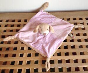 KEEL TOYS Pink Velour Puppy Dog Baby Blankie Comforter Soft Plush Toy