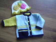 "New Hand Knitted Multi Colour Jacket with Matching Floral Hat 20/ 22"" chest"