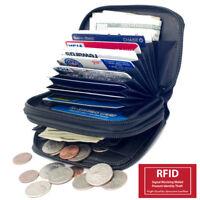 RFID Blocking Accordion Credit Card ID Women's Leather Wallet Holder 2 Zip