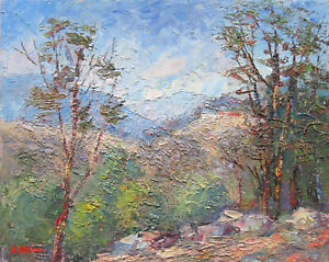 Oil Painting Australian Artist Enoch Hlisic Original Impressionist Lake Eildon