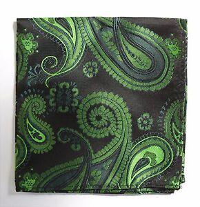 Hankie Pocket Square Handkerchief Black & Bright Green Paisley