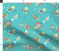 Stars Space Cats Rockets Space Ship Ufo Astrology Spoonflower Fabric by the Yard