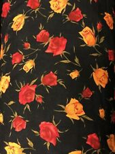New listing Vintage Harriet Sawyer American Textile Floral Fabric Roses Black 20 Yards