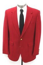 vintage mens red STAFFORD blazer jacket sport suit coat gold buttons 44 R