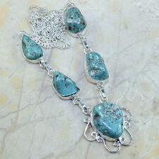 turquesa Rough Jaspe Piedra Preciosa PURE plata de ley 925 Collar 50.2cm a61230
