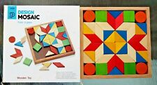 Vintage PLAN TOYS Design Mosaic WOODEN PUZZLE w/ Box - Educational, COLORFUL