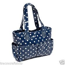 Knitting Bag Handbag Craft Bag in Navy Spot Patterned Vinyl Material.