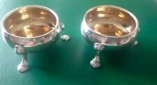 Pair David Hennell Georgian Antique English Sterling Silver Salts 1759