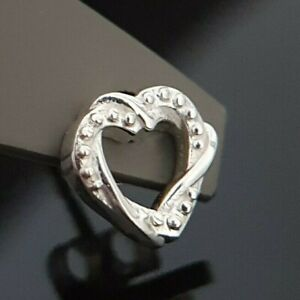 Ladies 925 Sterling Silver Intertwined Double Love Heart Unity Stud Earrings