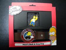 Mens Homer Simpson Belt and Keyring Set Gift Offer Christmas Stocking Filler