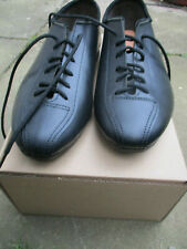 Leather cycling shoes classic eroica plain style black touring flat pedals