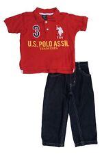 U.S. Polo Assn Boys Red Polo Shirt 2pc Jean Pants Set Size Size 2T