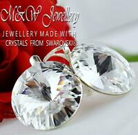 925 Silver HUGE Earrings Crystals from Swarovski® 18mm Rivoli CRYSTAL (Clear )