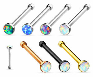 1pc Opal Set Nose Stud Bone Ring 316L Surgical Steel Body Jewelry