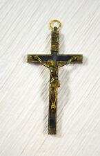 "Vintage Catholic Crucifix Pectoral Cross Wood Inlay Italy Old Pendant 4"""