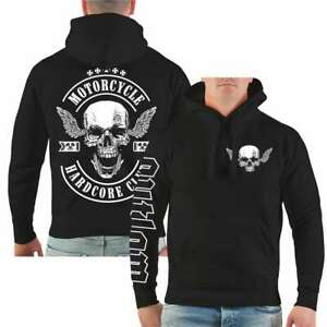 Kapuzenpullover Motorcycle Hardcore Club Hoodie MC Rocker Biker Totenkopf EK