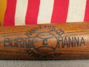 "Vintage Burke Hanna Wood Baseball Bat Columbia Model Hanna Mfg Co. 34"" Athens,GA"