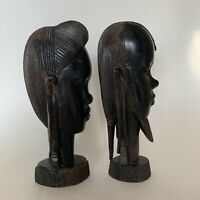 African Tribal Set Wood Carved Sculptures Man Woman Heads Kenya Vintage Dark 9""