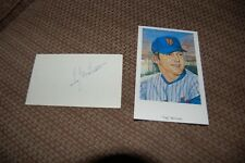 NEW YORK METS TUG MCGRAW SIGNED 3X5 INDEX CARD AND RON LEWIS POSTCARD   W/ COA