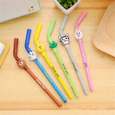 2pcs Cute Cartoon Straw Gel Pens Office Stationery Signature Neutral Pens Gift