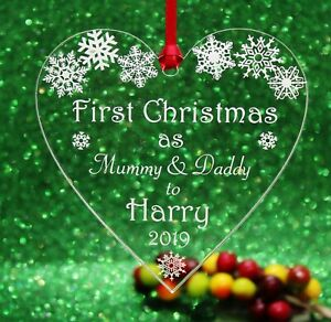 Personalised  First Christmas as Mummy & Daddy  Christmas Heart Tree Decoration