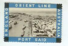 c1930s Orient Steam Ship Line - England Port Said Australia - label stamp