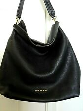 Burberry London Grainy Medium Cale Black Leather Hobo Bag