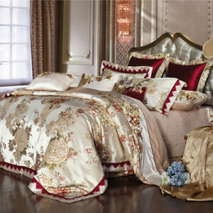 8pc. Luxury Egyptian Cotton Burgundy & Beige Queen King Duvet Cover Bed Set