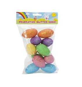 DECORATIVE GLITTER EGGS FOR EASTER EGG HUNTS BAG OF 11 CRAFT PARTIES