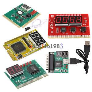 2 4 Digit 3 in1 PCI PCI-E PC Analyzer Analyse Diagnose Karte USB Post Card