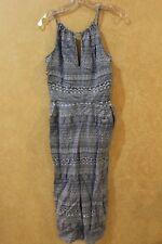NWT Blue  Sleeveless Sun Jumpsuit  XS Side pockets key hole front _____ R17B3