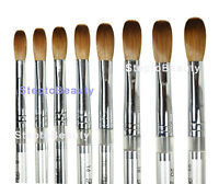 Petal Silver handle Acrylic Nail Brush CRIMPED Acrylic Powder Manicure Pedicure