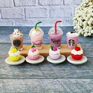 Dollhouse Miniatures Food Rose Cupcake Bakery Coffee Cup Set Barbie Supply Decor