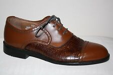 BOTANY 500 BROWN LEATHER W/ ANIMAL PRINT LACE UP OXFORD SHOES MENS SZ 7.5 M