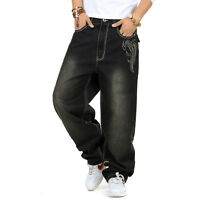 Plus Size Mens Jeans Baggy HipHop Skateboard Pants Casual Embroidery Black 30-46